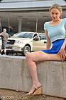 Nasty teen penetrating herself in a public place.