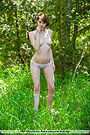 Topless teen in panties posing in untouched nature.